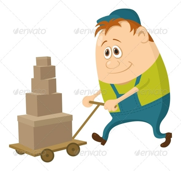 Worker with Handcart - People Characters