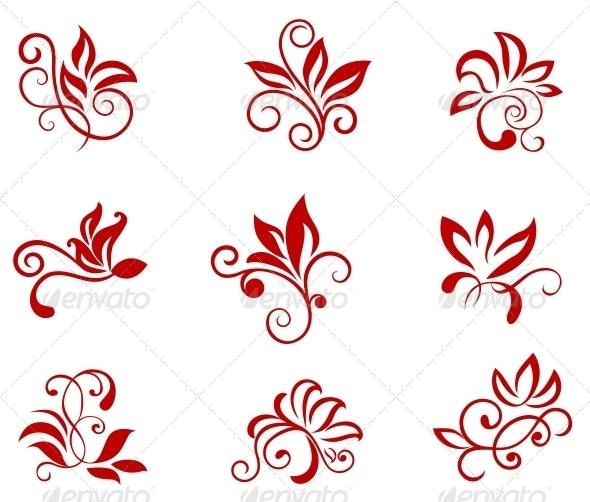 Flower Patterns - Flourishes / Swirls Decorative