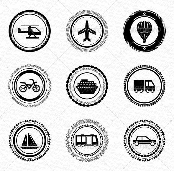 Black Retro Labels and Badges - Transportation - Decorative Symbols Decorative