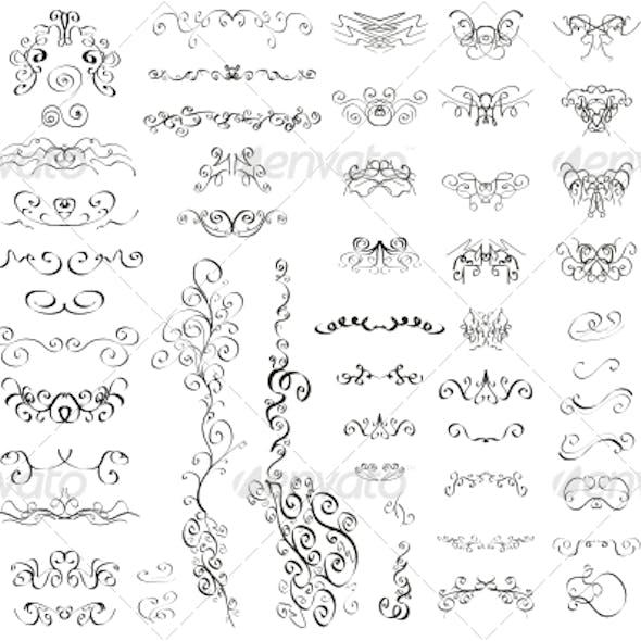 Set of Vintage Retro Calligraphic Elements