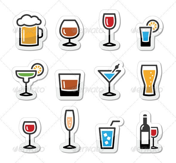 Drink Alcohol Beverage Icons Set as Labels - Food Objects