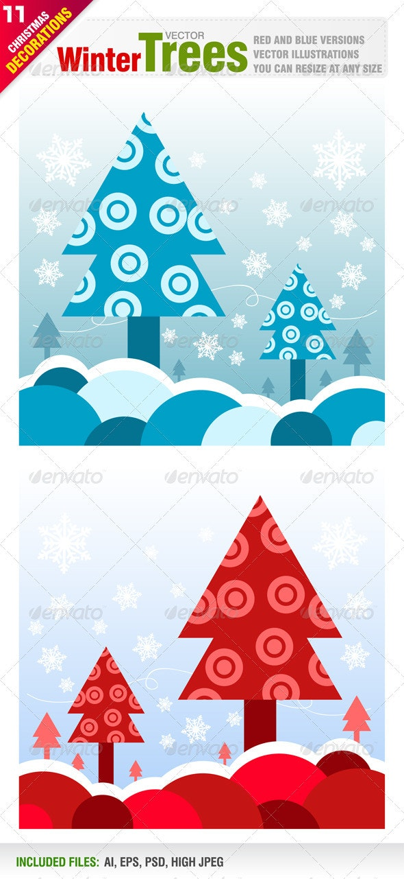 Winter Tree Designs - New Year Seasons/Holidays