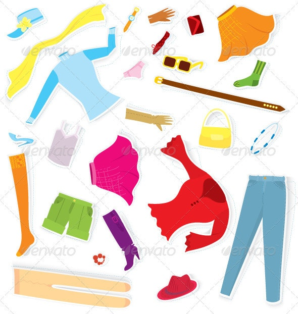 Clothes Sticker Set Vector - Man-made Objects Objects