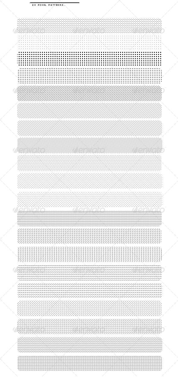 20 Pixel Patterns - Techno / Futuristic Textures / Fills / Patterns