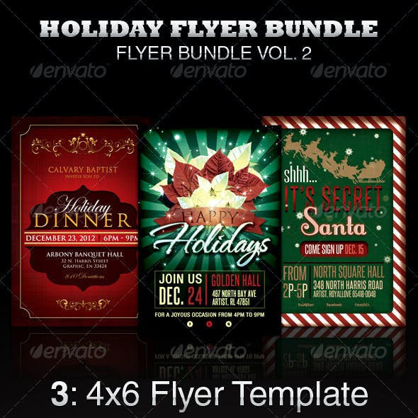Holiday Flyer Template Bundle