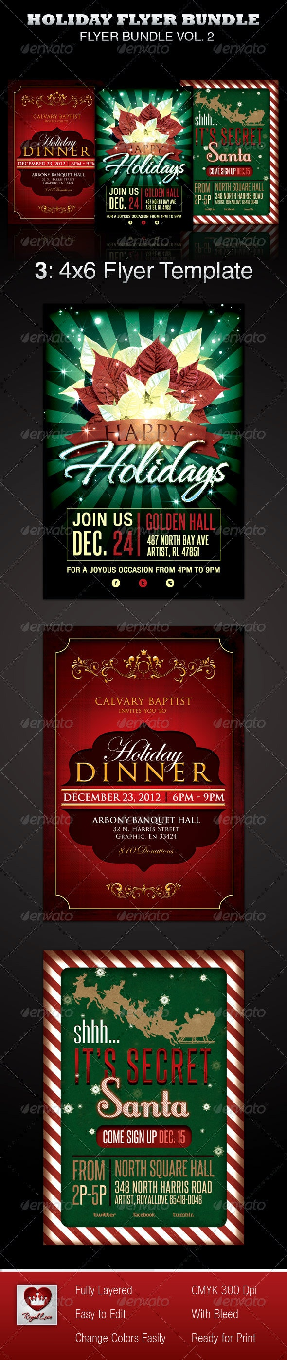 Holiday Flyer Template Bundle - Holidays Events