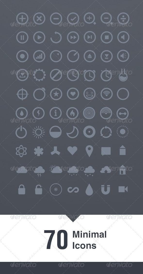 70 Minimal Icons - Web Elements Vectors