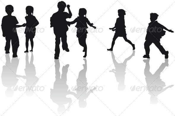 Kids Running - People Characters