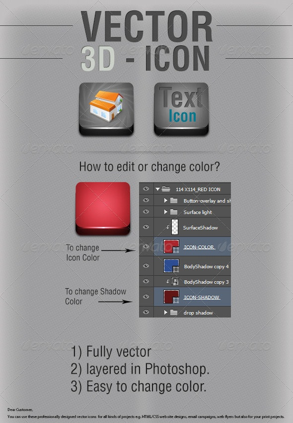 3D Vector Customized Icon easy change color - Miscellaneous Icons