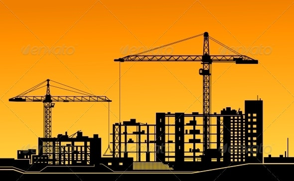 Working Cranes on Construction Site - Buildings Objects