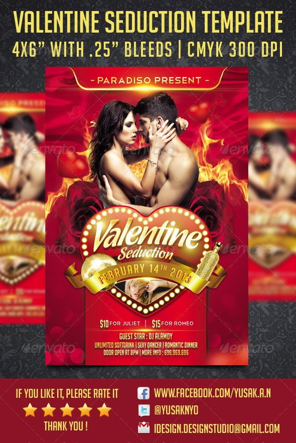 Valentine Seduction Flyer Template - Clubs & Parties Events