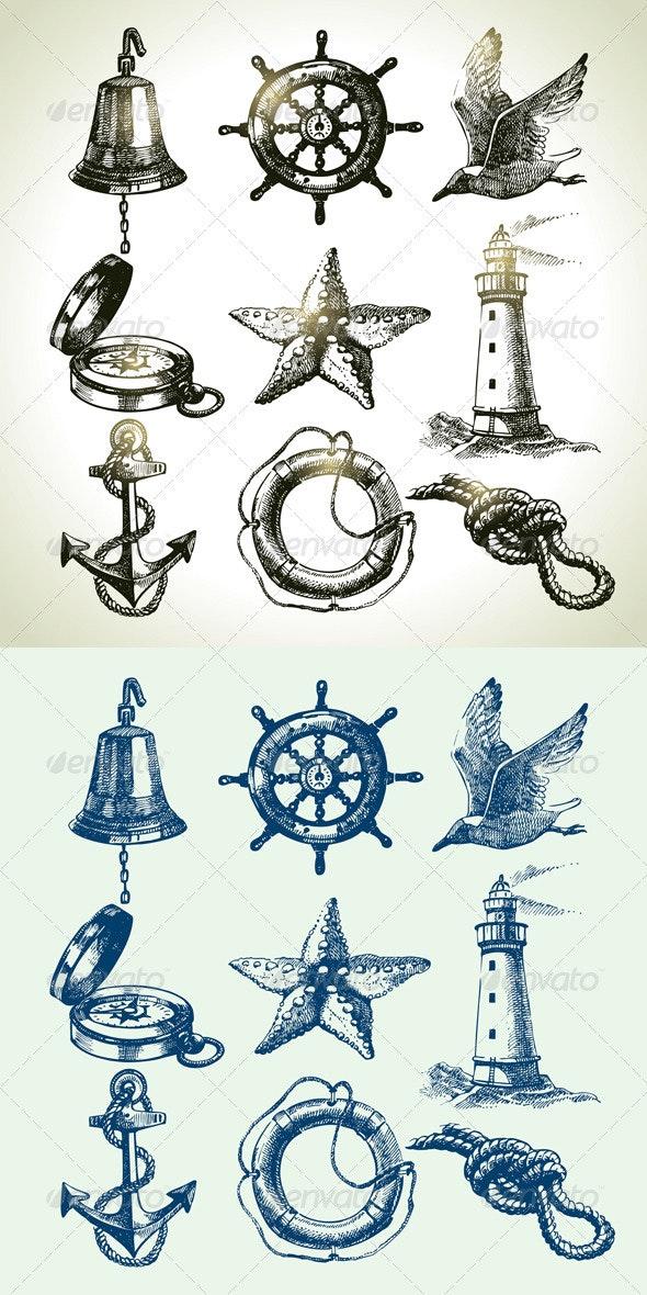Hand Drawn Sea Set - Objects Vectors