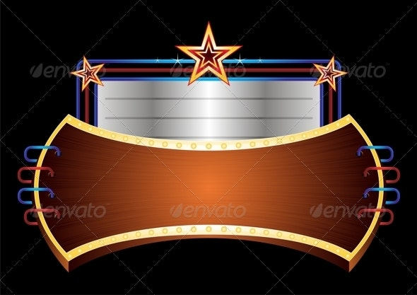Shiny Banner with Stars - Backgrounds Decorative