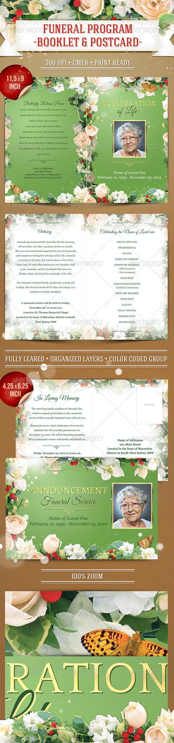 Funeral Program Template - Booklet & Postcard - Anniversary Greeting Cards