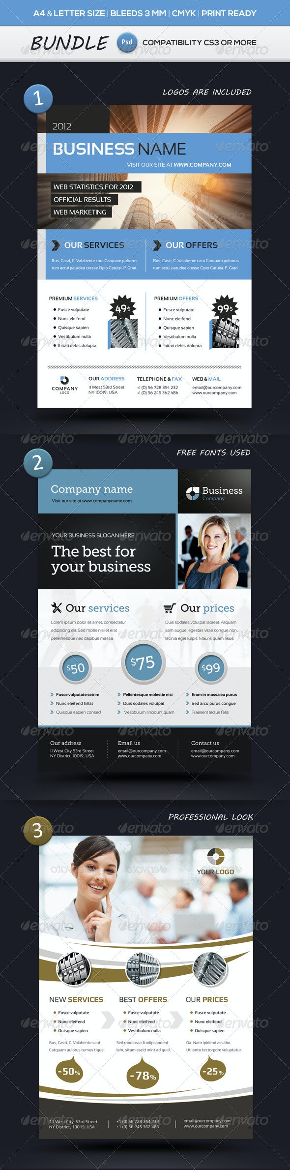 Business Flyer Templates A4 & Letter BUNDLE - Commerce Flyers