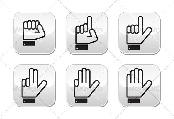 Counting Hand Signs - Vector Buttons Isolated  - Web Elements Vectors