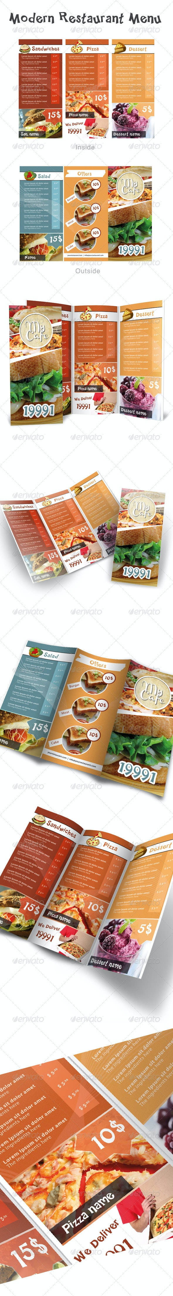 Modern Restaurant Menu - Food Menus Print Templates