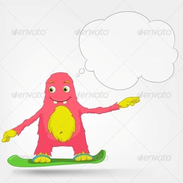 Funny Monster - Snowboarding
