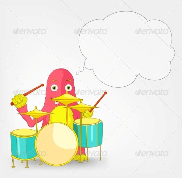 Funny Monster - Drummer - Monsters Characters
