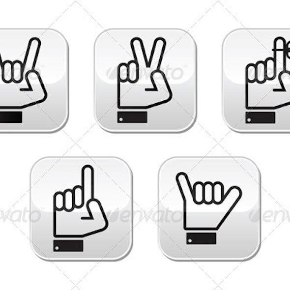 Vector Hand Gestures, Signals and Signs - Victory