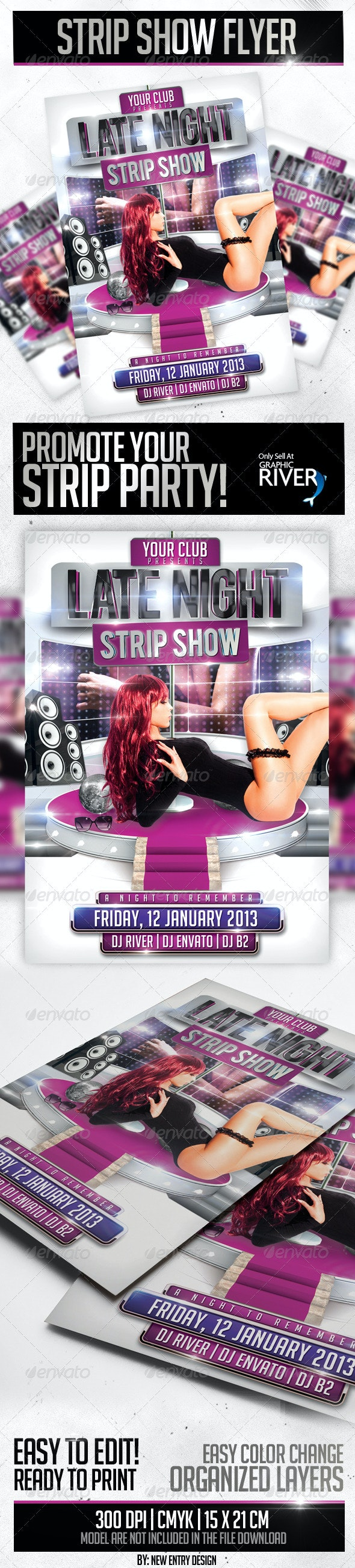 Strip Show Flyer Template - Clubs & Parties Events