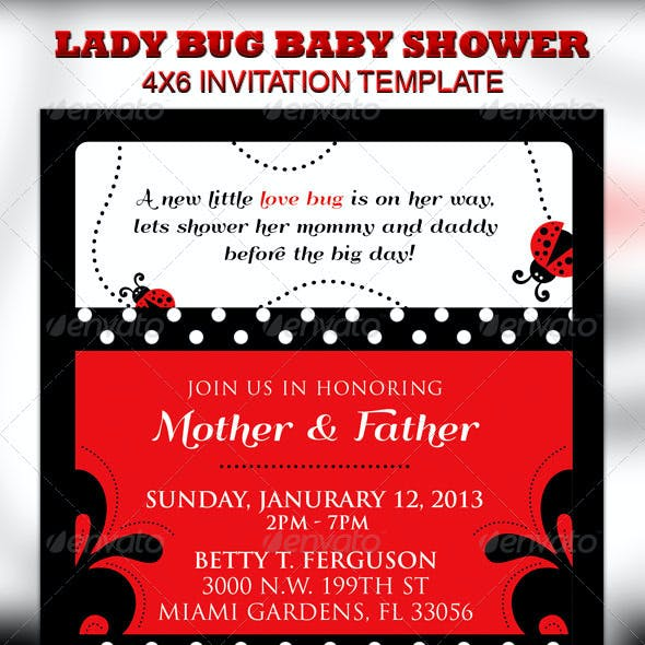 Lady Bug Baby Shower Invitation & Raffle Ticket