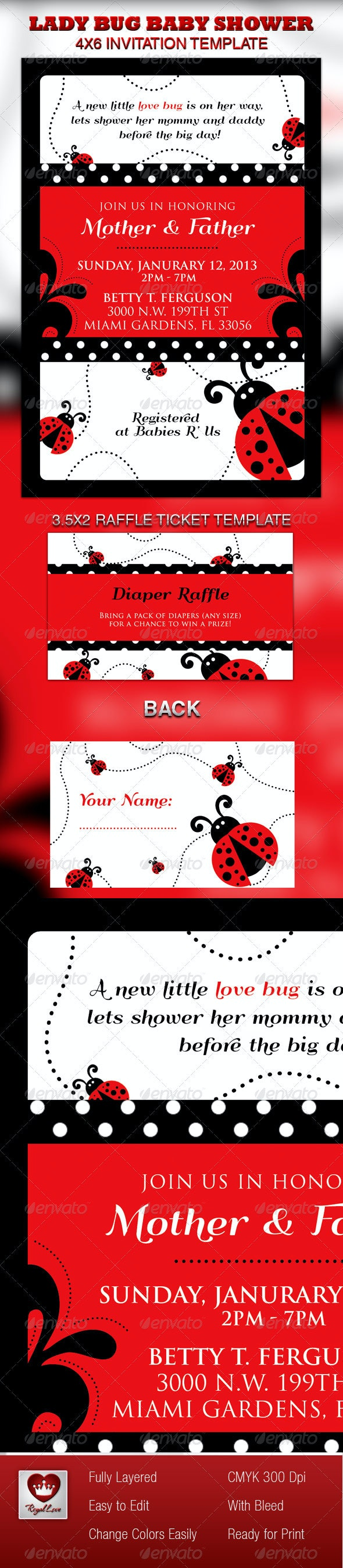 Lady Bug Baby Shower Invitation & Raffle Ticket - Invitations Cards & Invites