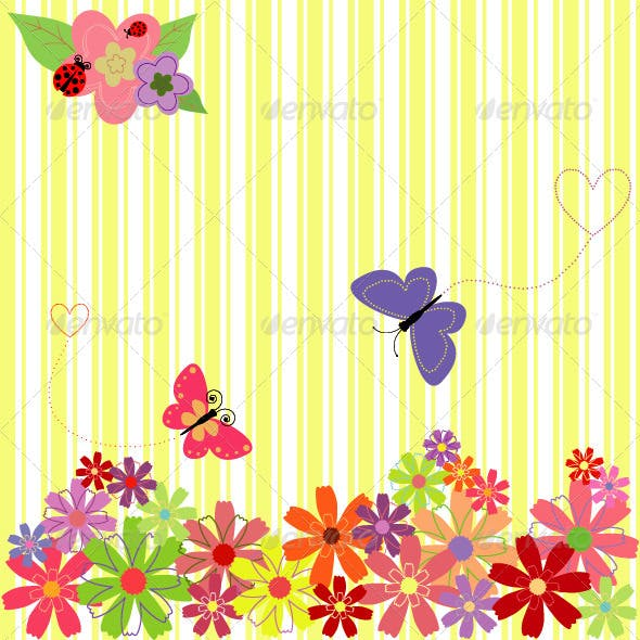 Springtime Flowers with Butterflies