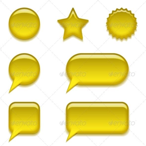 Yellow Glass Buttons Set - Web Elements Vectors