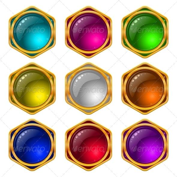 Round Buttons with Gems Set - Web Elements Vectors