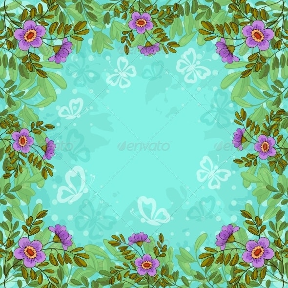 Flowers, Butterflies and Sky - Backgrounds Decorative