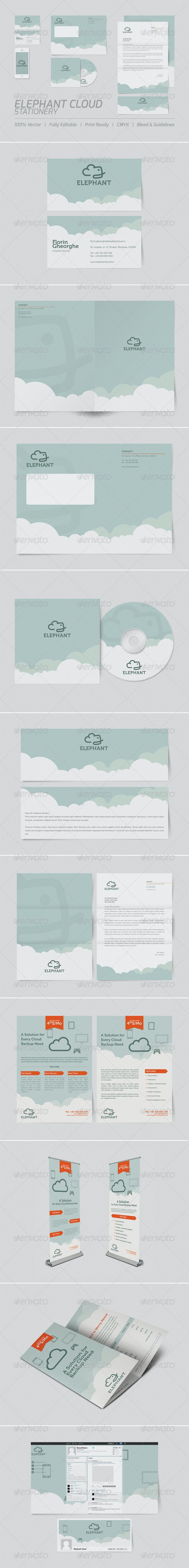 Elephant Cloud Stationery - Stationery Print Templates