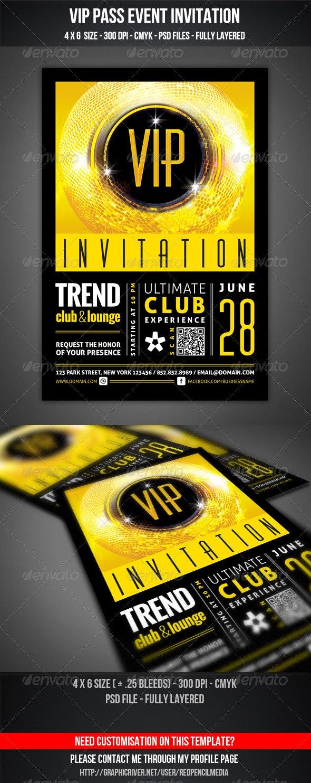 VIP Club Event Invitation - Cards & Invites Print Templates