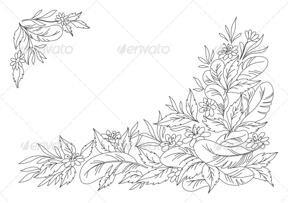 Leaves, Flowers and Feathers Graphic - Decorative Symbols Decorative
