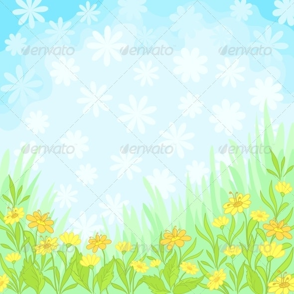 Flowers and Sky Background - Backgrounds Decorative