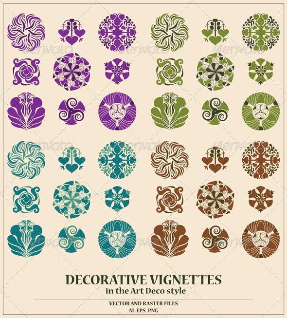 Art Deco Vignettes Set - Flourishes / Swirls Decorative