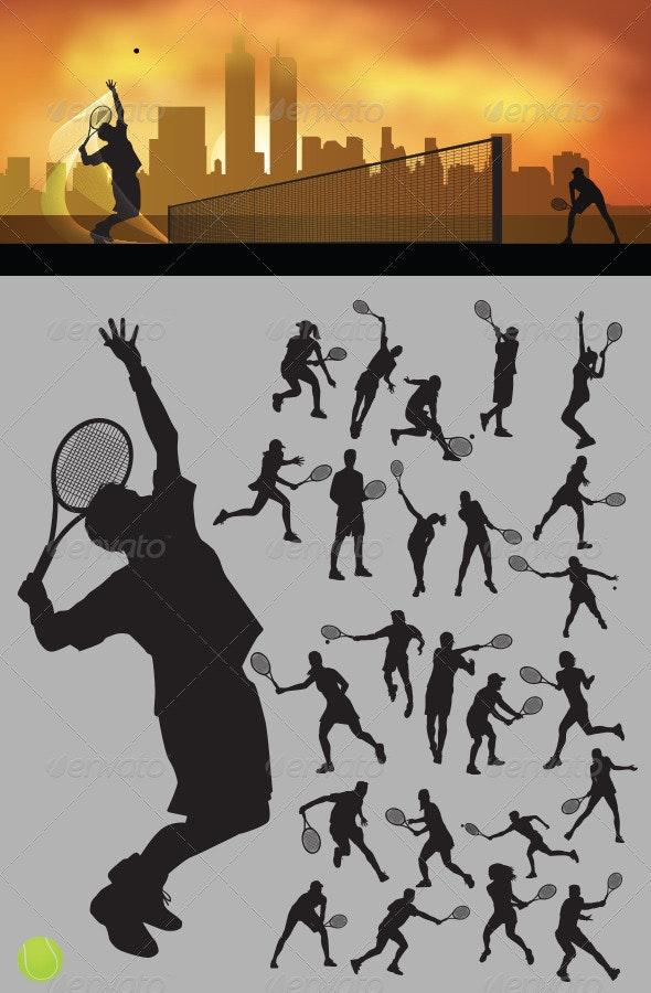 Tennis Silhouettes - Sports/Activity Conceptual