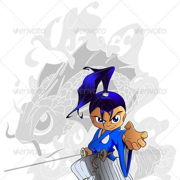 Samurai Chibi with Koi Tattoo-Style Background