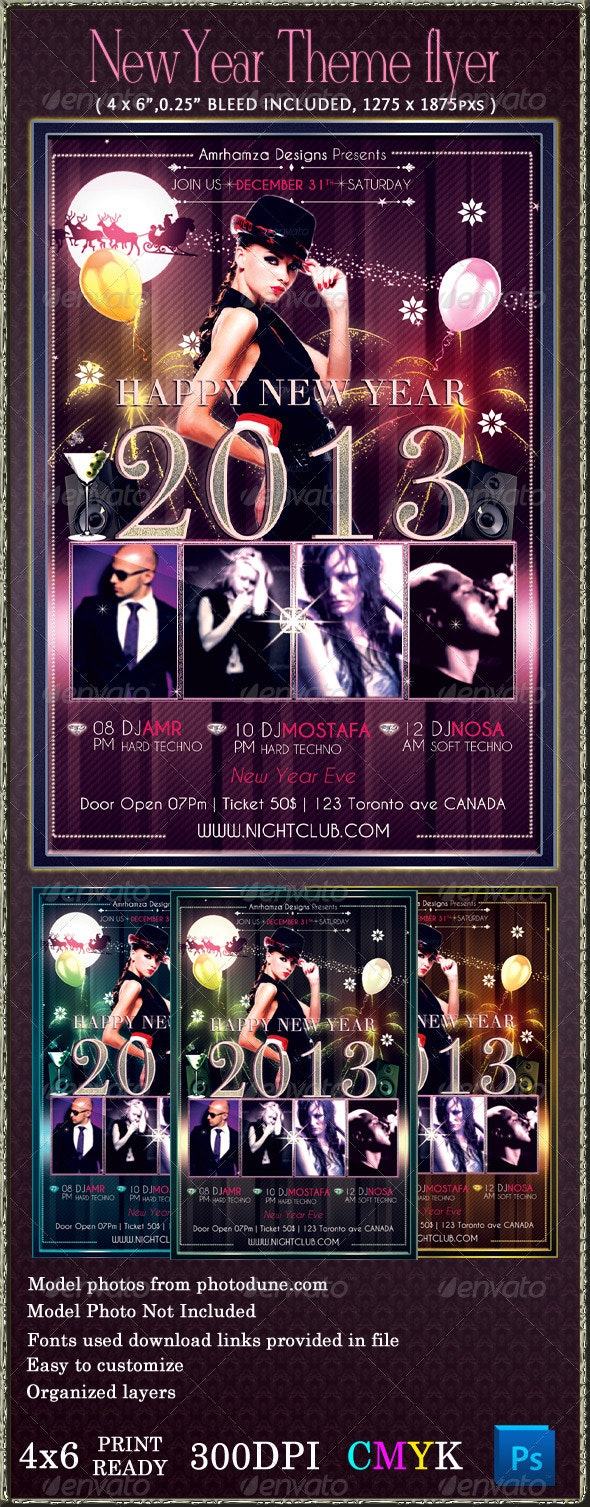 New Year Night Club Event Flyer Template - Clubs & Parties Events