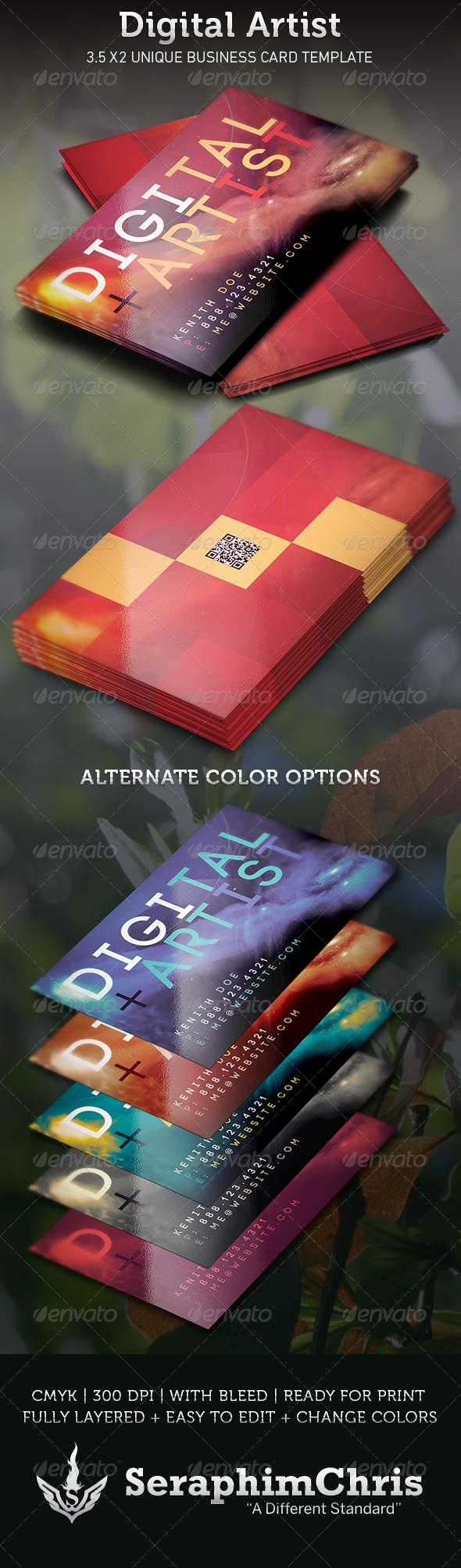 Digital Artist Business Card Template - Creative Business Cards