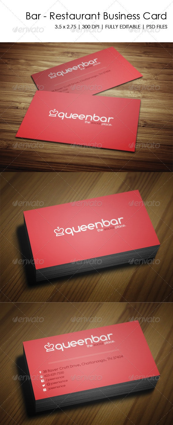 Bar - Restaurant Business Card - Creative Business Cards