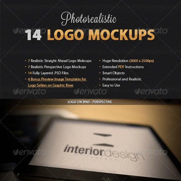 14 Realistic Logo Mockups Bundle