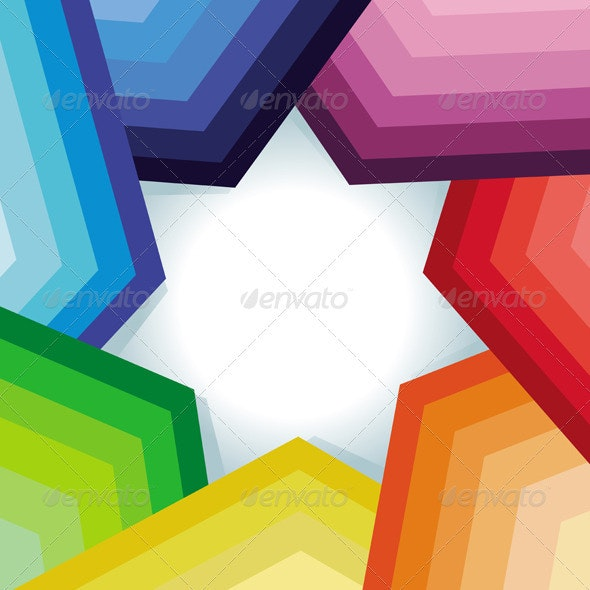 Vector Abstract Background with Rainbow and Star - Backgrounds Decorative