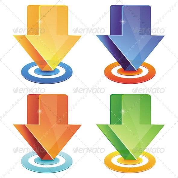 Vector Set with Download Icons - 4 Bright Arrows - Web Elements Vectors