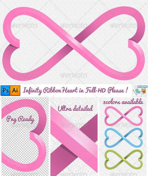 Elegant Heart Infinity Ribbon Full-Hd - Illustrations Graphics
