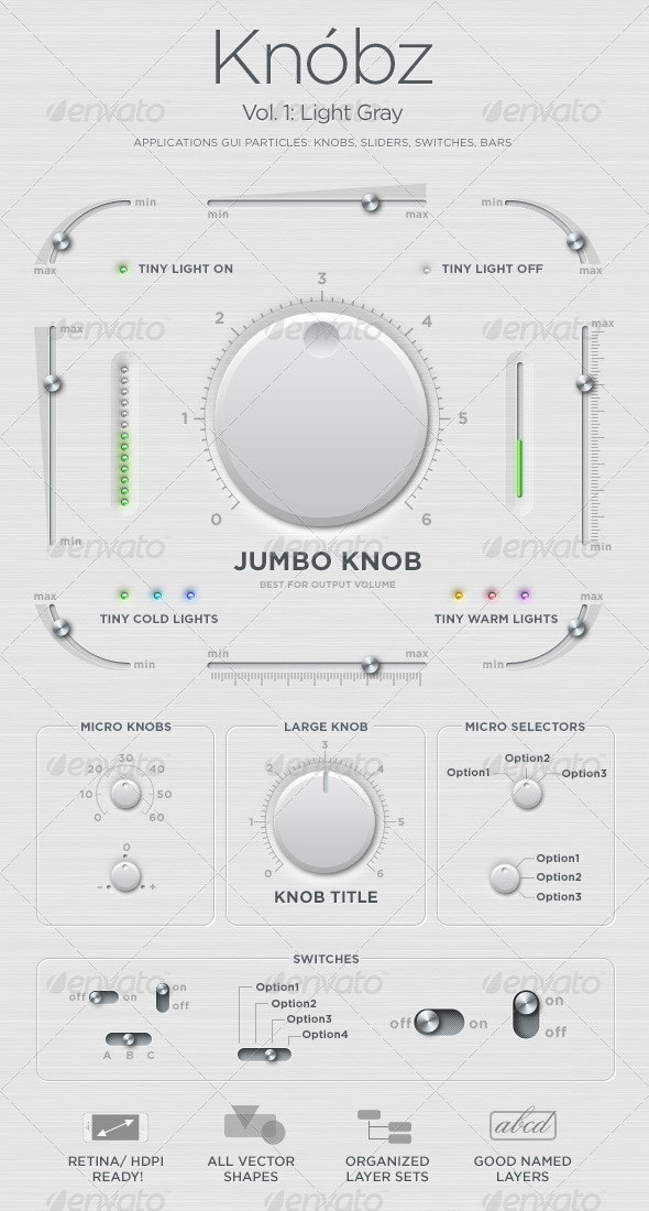 Knóbz Vol.1: Knobs, Sliders, Switches, Bars - User Interfaces Web Elements