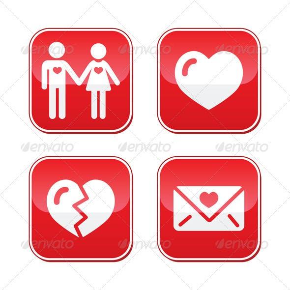 Love Valentine's Day Buttons Set