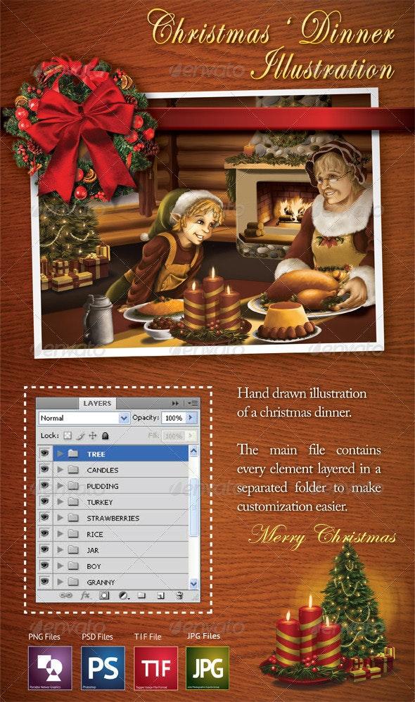 Christmas' Dinner Illustration