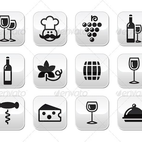 Wine and Food Buttons Set
