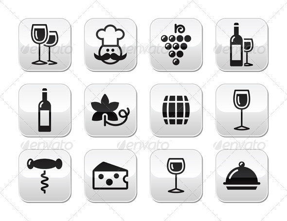 Wine and Food Buttons Set - Food Objects